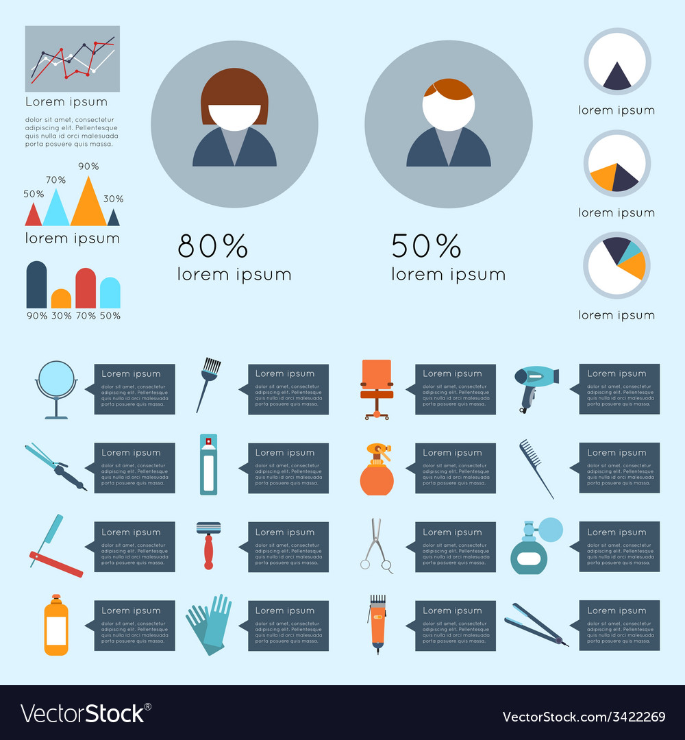 Hairdresser infographic set vector | Price: 1 Credit (USD $1)