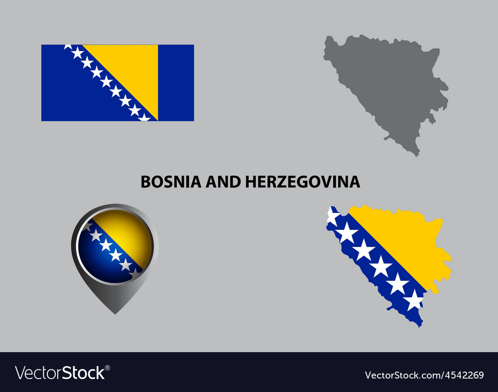 Map of bosnia and herzegovina and symbol vector | Price: 1 Credit (USD $1)