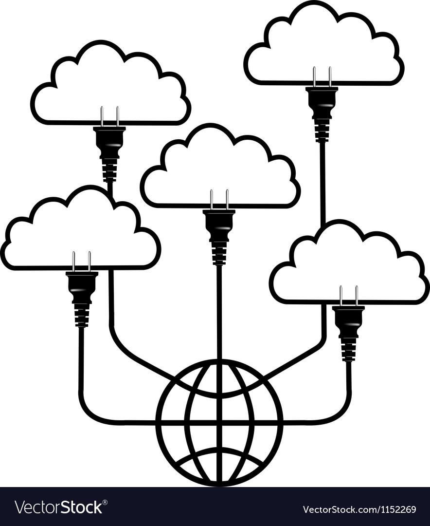 Plug technology into global cloud computing vector | Price: 1 Credit (USD $1)