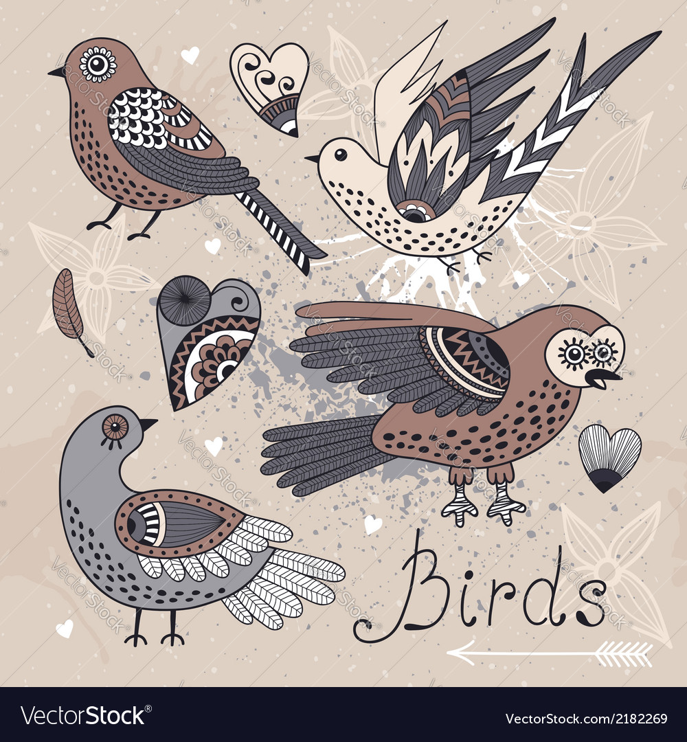 Set birds and hearts vector | Price: 1 Credit (USD $1)