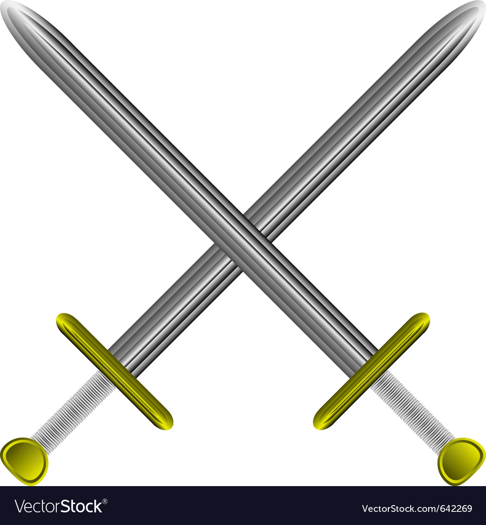 Steel swords on white vector | Price: 1 Credit (USD $1)