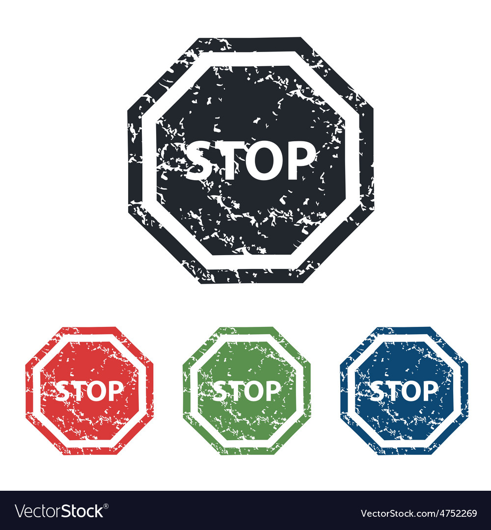 Stop sign grunge icon set vector | Price: 1 Credit (USD $1)