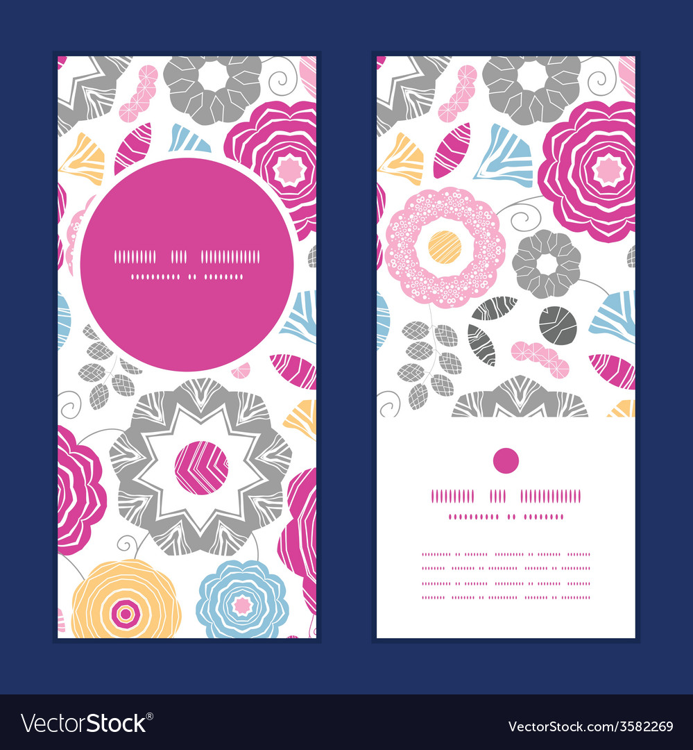 Vibrant floral scaterred vertical round frame vector | Price: 1 Credit (USD $1)