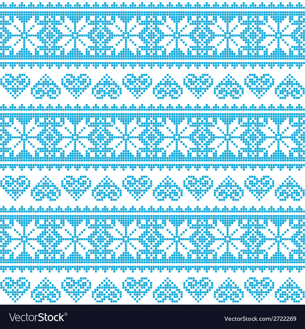 Winter christmas seamless pixelated blue pattern vector | Price: 1 Credit (USD $1)
