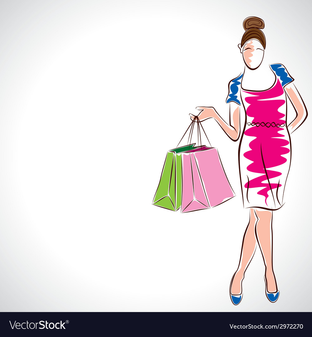Fashion women with shopping bag vector | Price: 1 Credit (USD $1)
