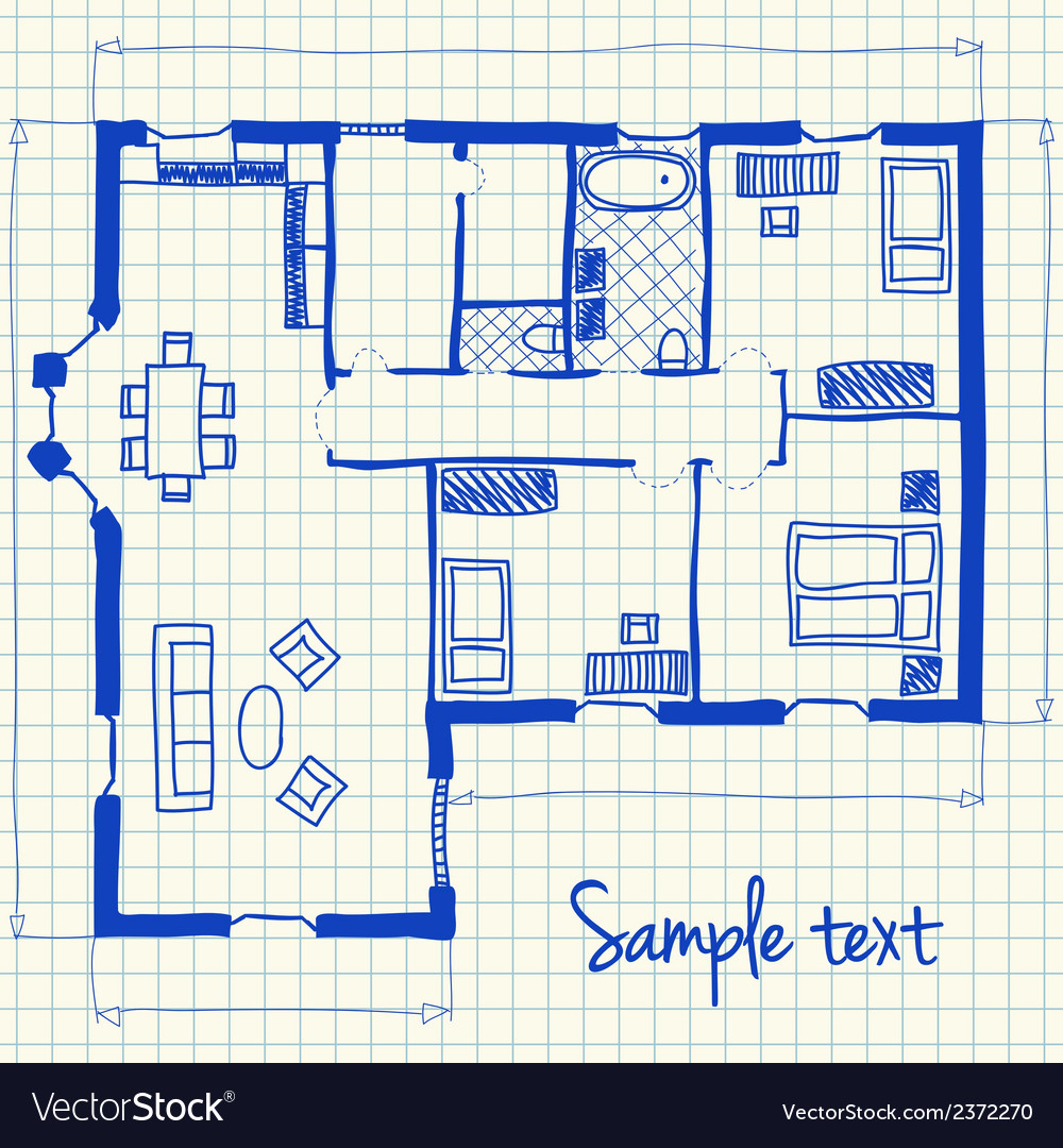 House plan doodle vector | Price: 1 Credit (USD $1)