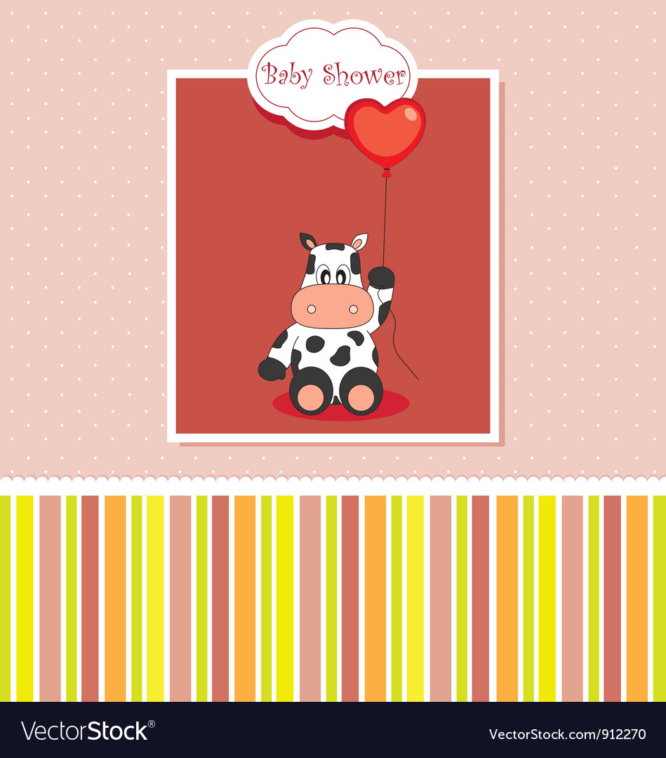 New baby shower card with cow vector | Price: 1 Credit (USD $1)