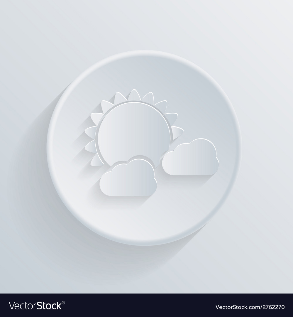 Paper circle flat icon sun behind the cloud vector | Price: 1 Credit (USD $1)