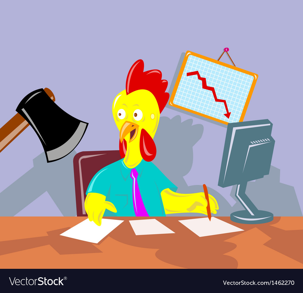 Rooster chicken office worker employee axed vector | Price: 1 Credit (USD $1)