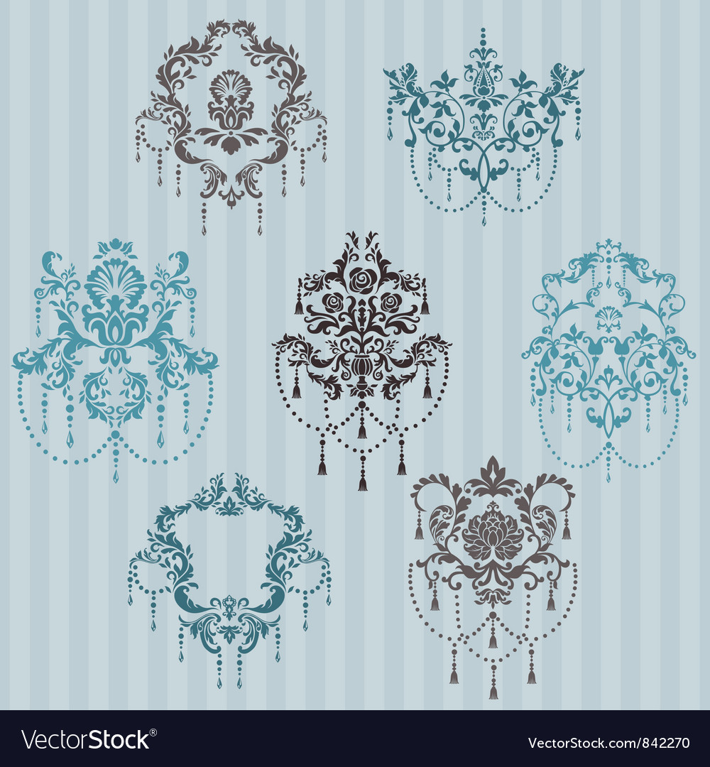 Set of ornamental damask vector | Price: 1 Credit (USD $1)