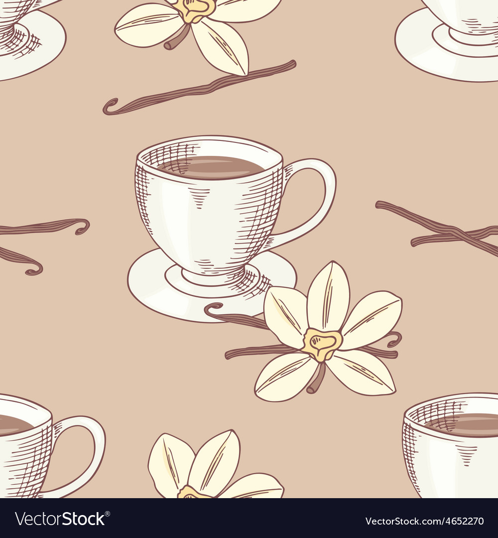 Sketched coffee cup with vanilla flower seamless vector | Price: 1 Credit (USD $1)