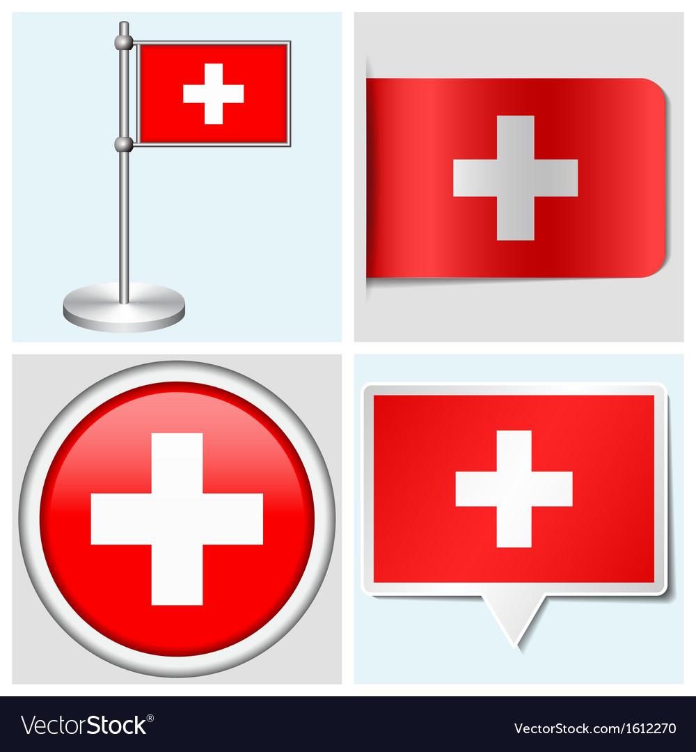 Switzerland flag - sticker button label vector | Price: 1 Credit (USD $1)