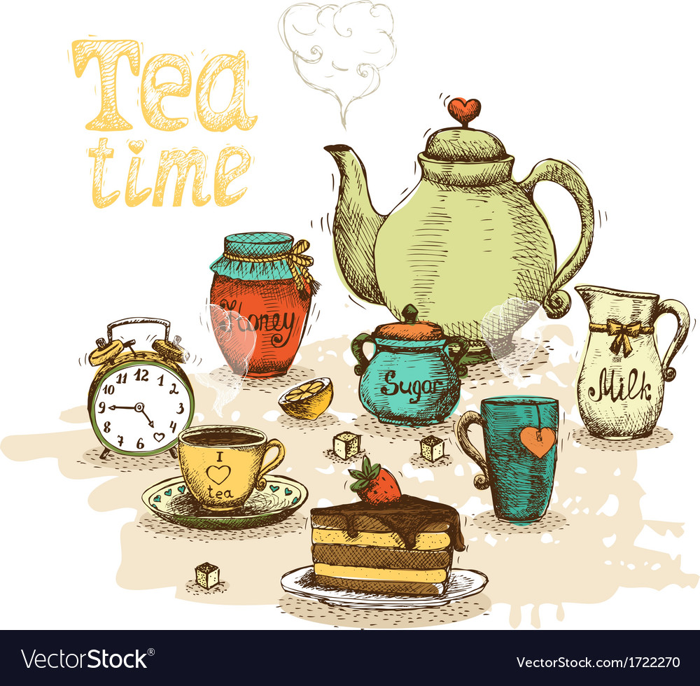 Tea time still life vector | Price: 1 Credit (USD $1)