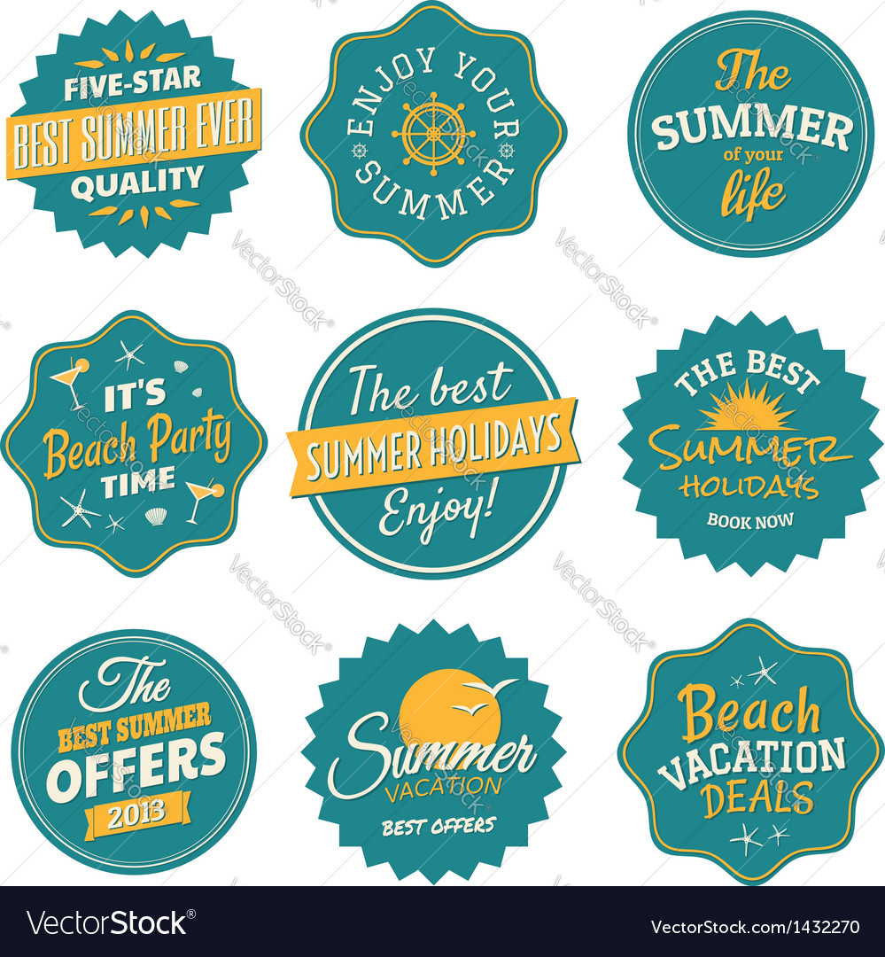 Vintage summer labels collection vector | Price: 3 Credit (USD $3)