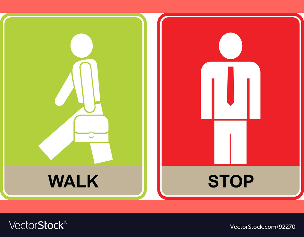 Walk and stop signs vector | Price: 1 Credit (USD $1)
