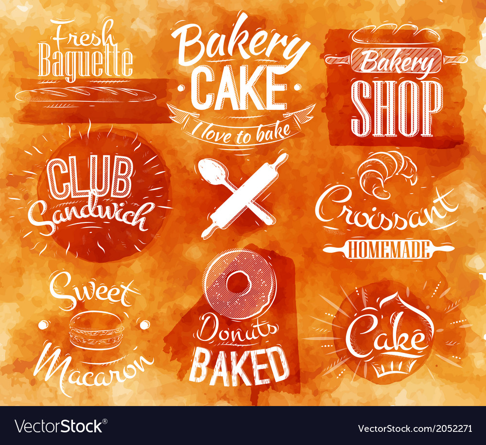 Bakery characters watercolor vector | Price: 1 Credit (USD $1)