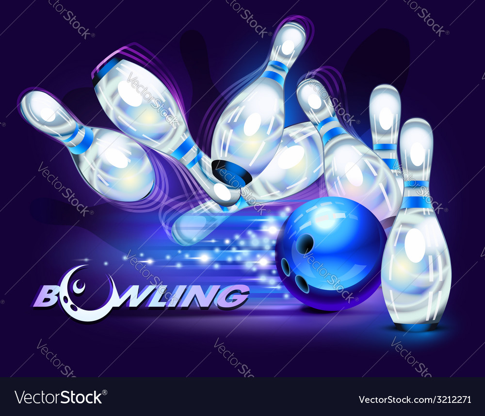 Bowling game blue vector | Price: 3 Credit (USD $3)