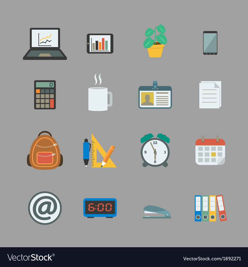Business collection of office supplies vector | Price: 1 Credit (USD $1)