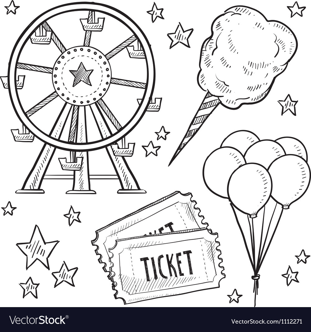 Doodle fair carnival set vector | Price: 1 Credit (USD $1)