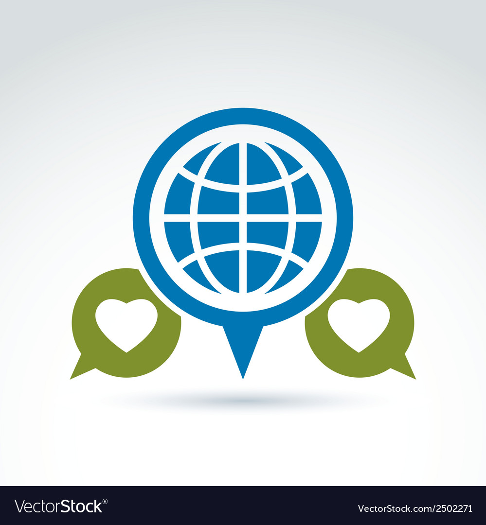 Globe with leaves growing and speech bubbles icon vector | Price: 1 Credit (USD $1)