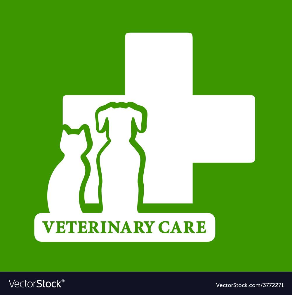 Green veterinary care icon vector | Price: 1 Credit (USD $1)