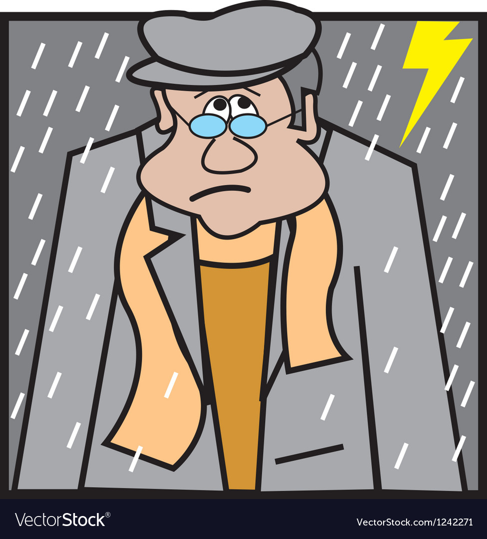 Man sitting in rain logo vector | Price: 1 Credit (USD $1)