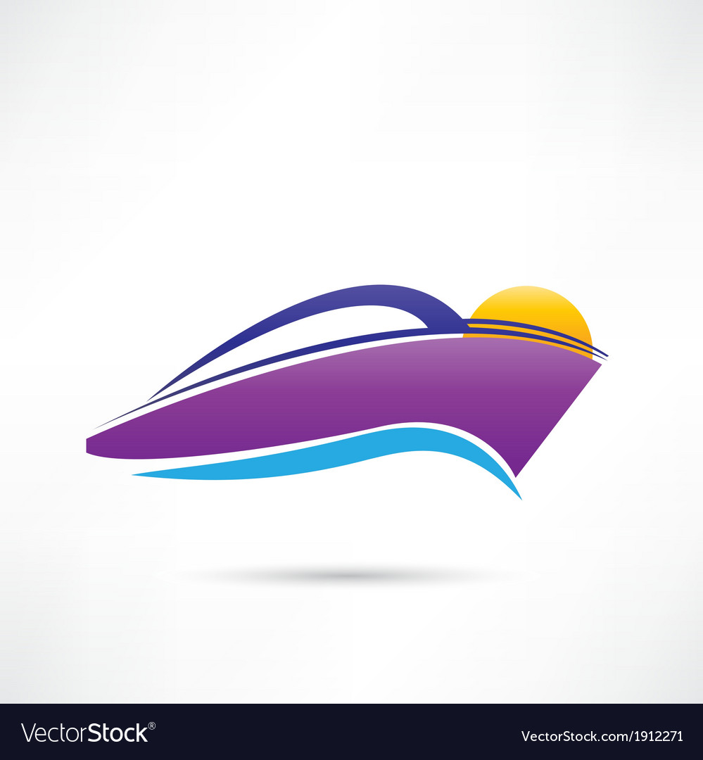 Rest on a yacht at sunset icon vector | Price: 1 Credit (USD $1)