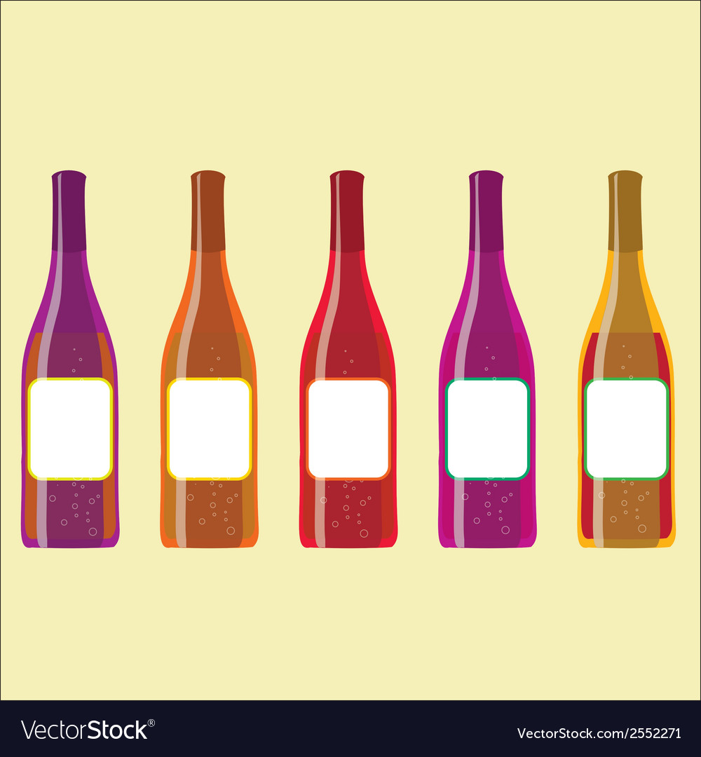 Set of colorful wine bottles with sparkles vector | Price: 1 Credit (USD $1)