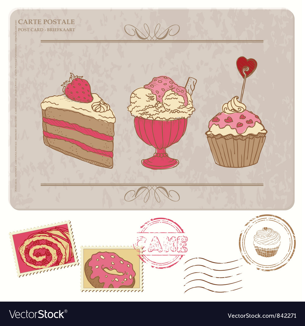 Set of cupcakes on old postcard vector | Price: 1 Credit (USD $1)