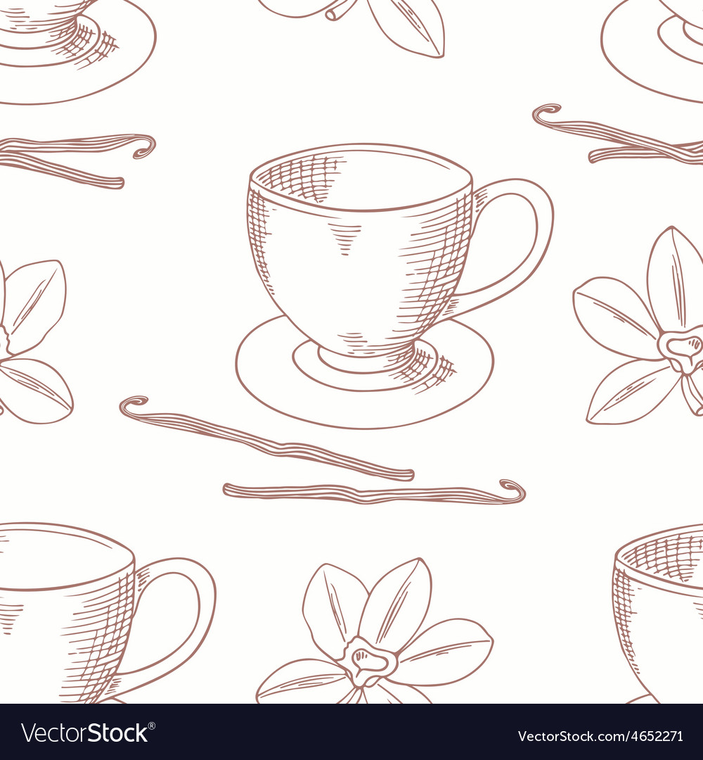 Sketched coffee cup with vanilla flower outline vector | Price: 1 Credit (USD $1)