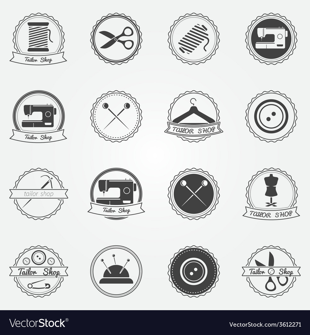 Tailor shop elements and badges vector | Price: 1 Credit (USD $1)