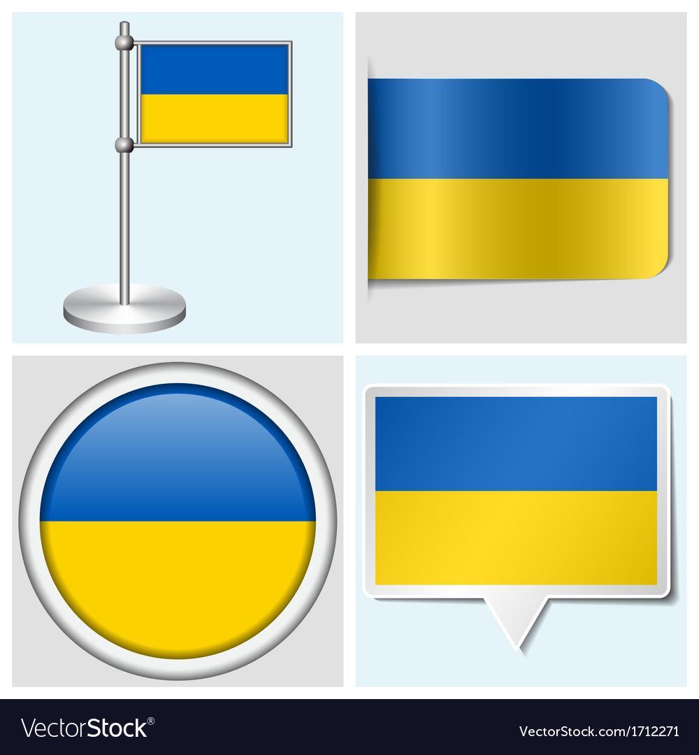 Ukraine flag - sticker button label flagstaff vector | Price: 1 Credit (USD $1)