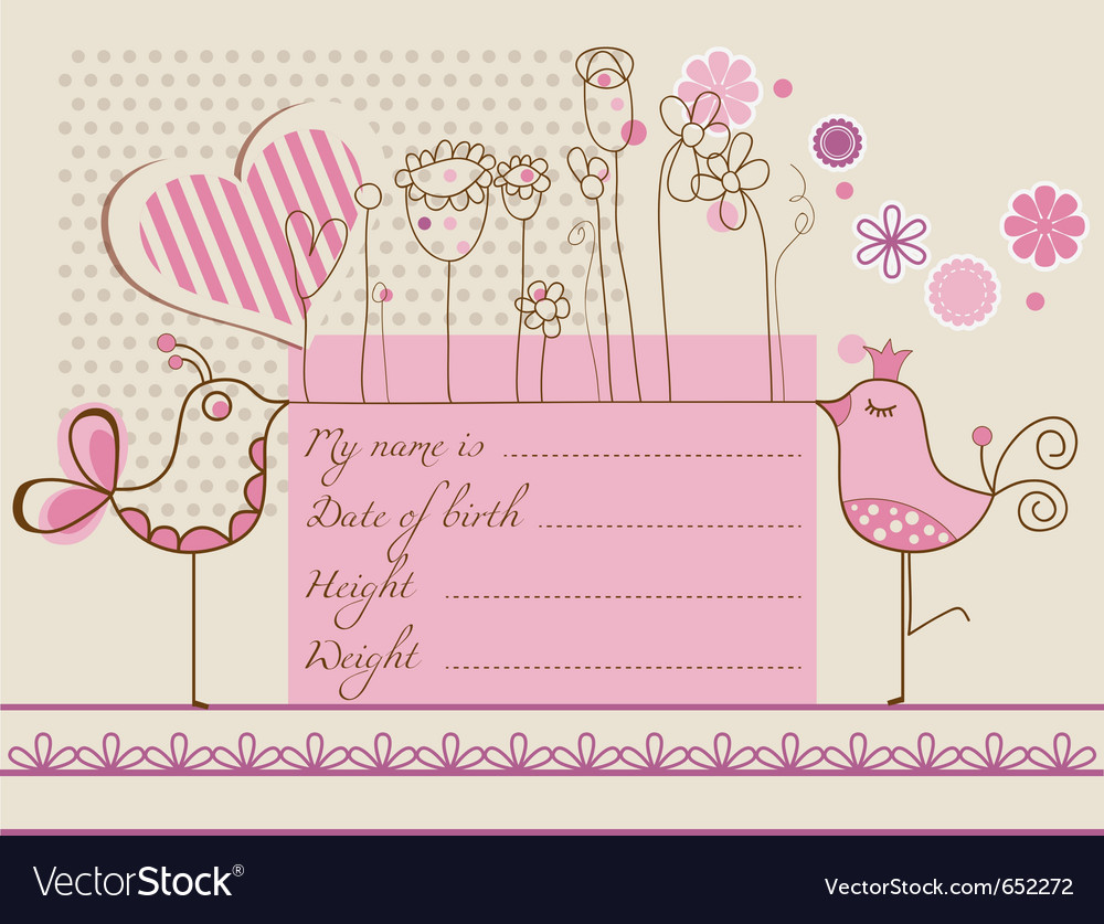 Baby girl cute card vector | Price: 1 Credit (USD $1)