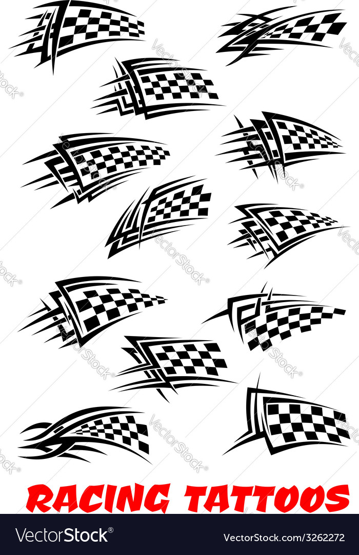 Checkered flags tattoos vector | Price: 1 Credit (USD $1)