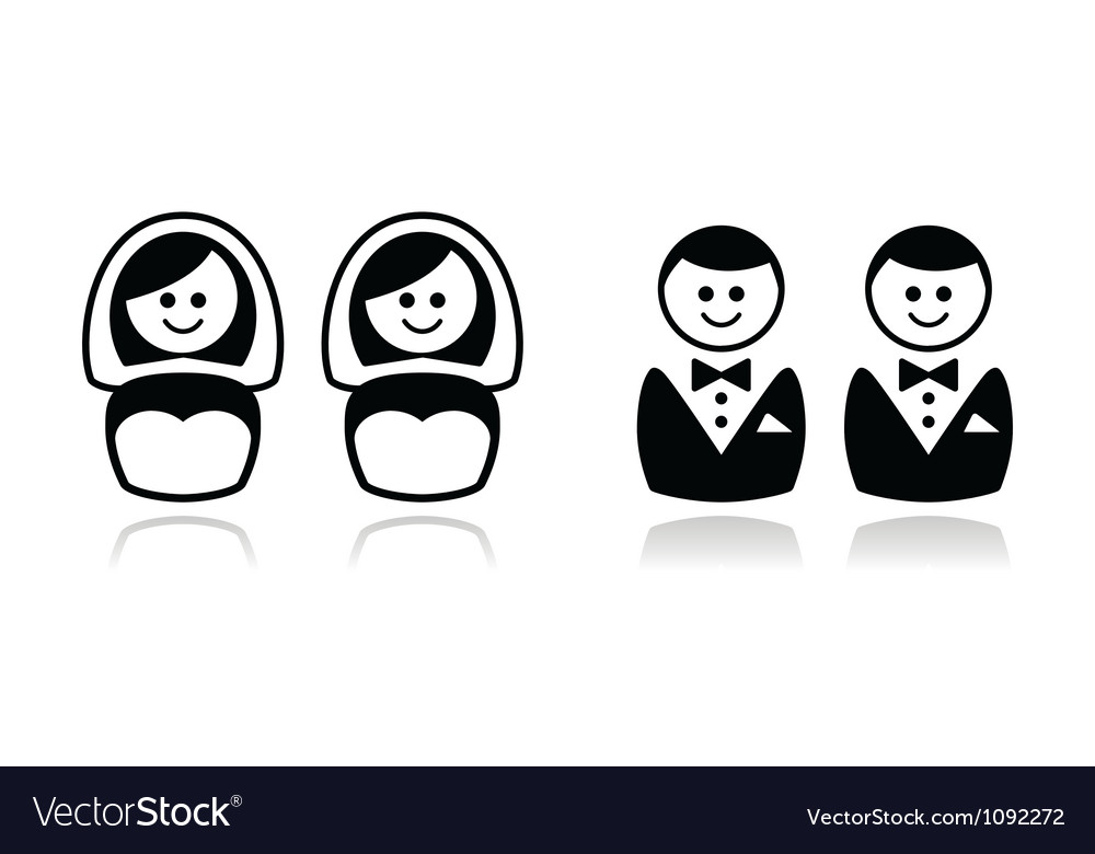 Gay and lesbian wedding icons set vector | Price: 1 Credit (USD $1)