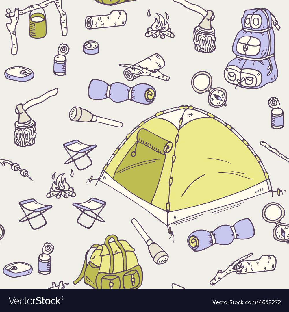 Hand drawn camping seamless pattern vector