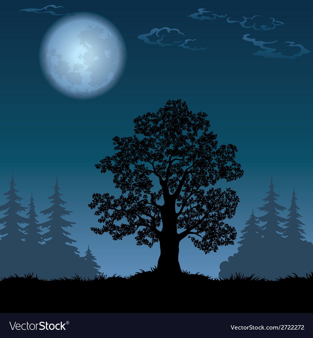 Landscape with oak tree and the moon vector | Price: 1 Credit (USD $1)