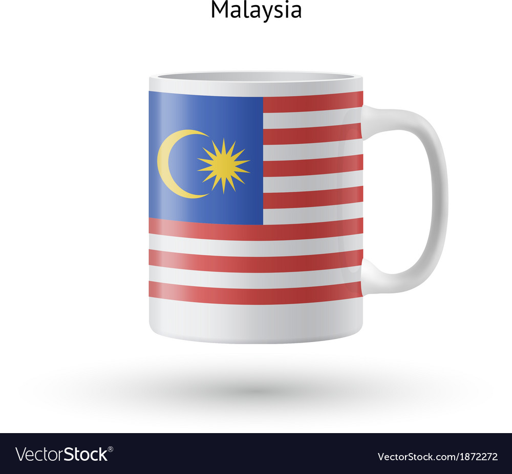 Malaysia flag souvenir mug on white background vector | Price: 1 Credit (USD $1)