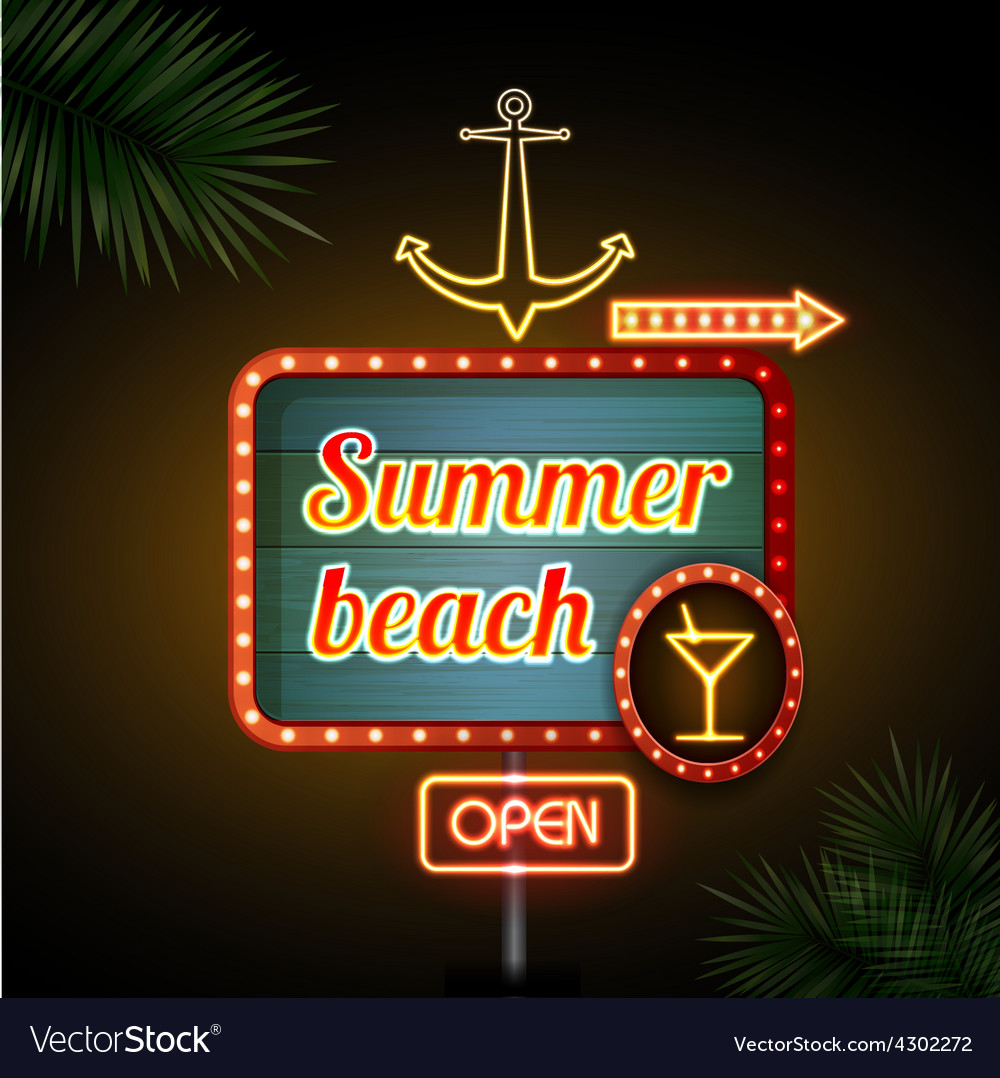 Neon sign summer beach vector | Price: 1 Credit (USD $1)