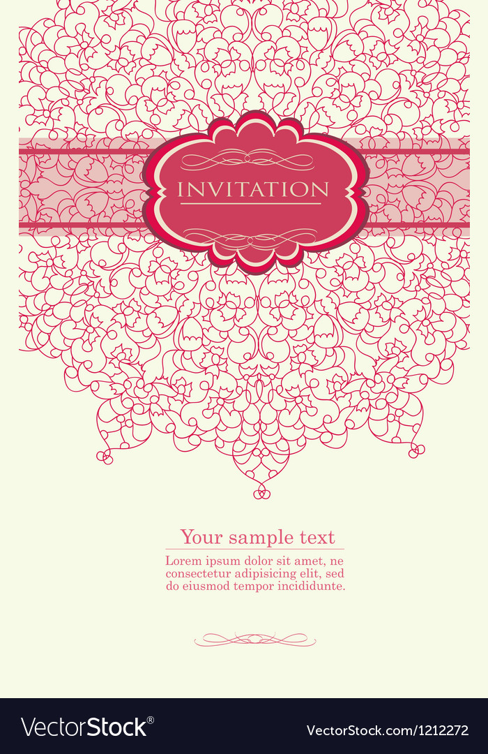 Pink invitation with lace template vector | Price: 1 Credit (USD $1)