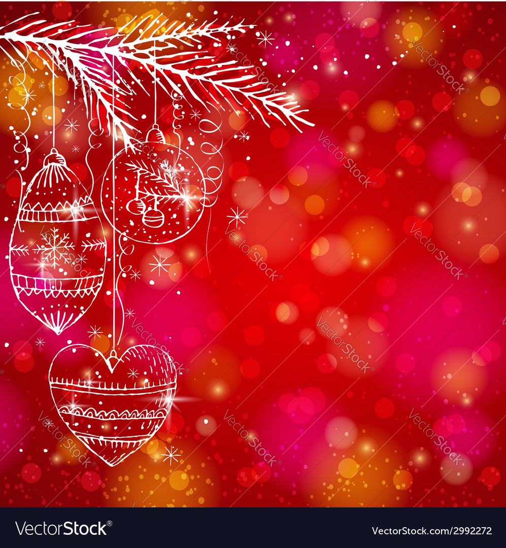 Red brightness background with christmas balls vector | Price: 1 Credit (USD $1)