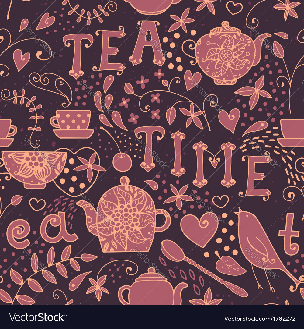 Seamless pattern - tea time vector | Price: 1 Credit (USD $1)