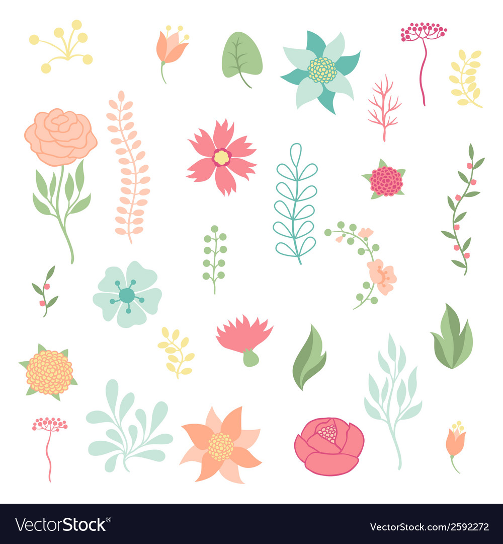 Set of various stylized flowers and elements vector | Price: 1 Credit (USD $1)