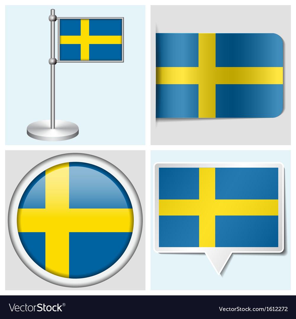 Sweden flag - sticker button label flagstaff vector | Price: 1 Credit (USD $1)