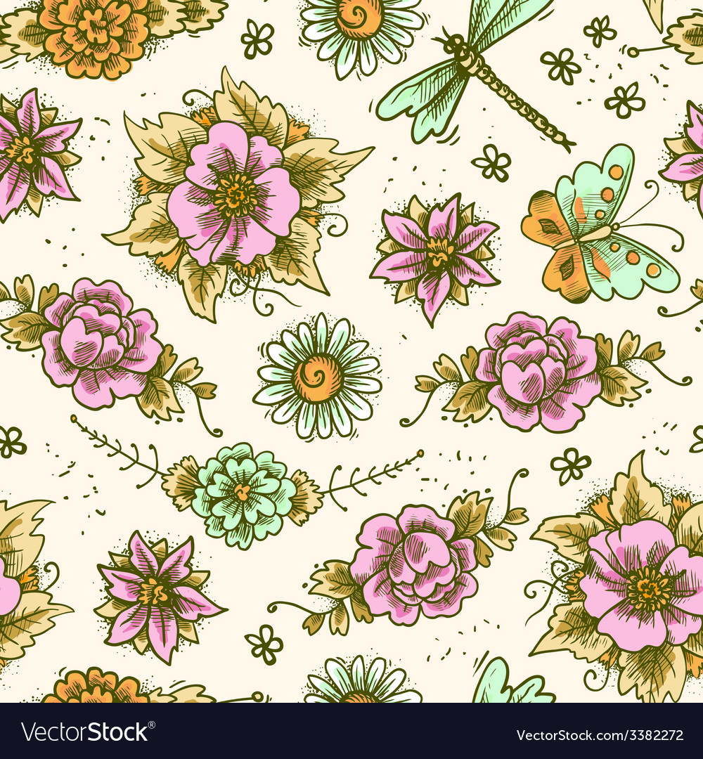Vintage floral colored seamless pattern vector | Price: 1 Credit (USD $1)