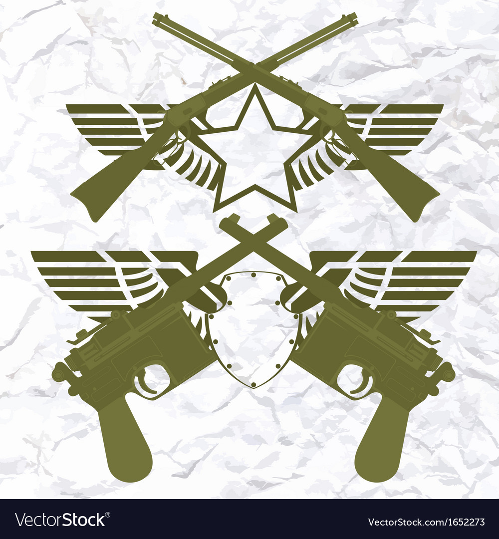 Badges with wings and small arms vector | Price: 1 Credit (USD $1)
