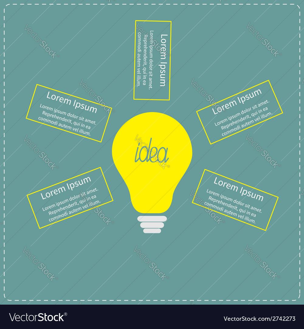 Big yellow light bulb infographic with text idea c vector | Price: 1 Credit (USD $1)