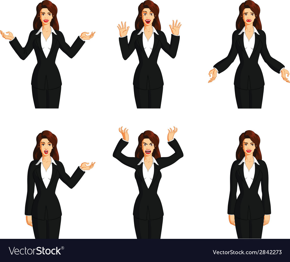 Businesswoman expressions vector | Price: 1 Credit (USD $1)