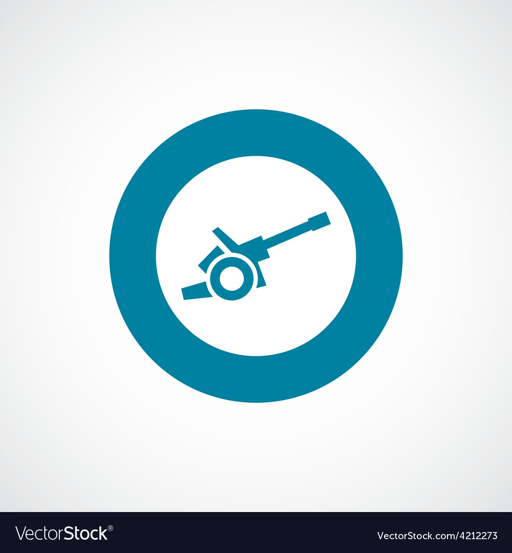 Cannon icon bold blue circle border vector   Price: 1 Credit (USD $1)