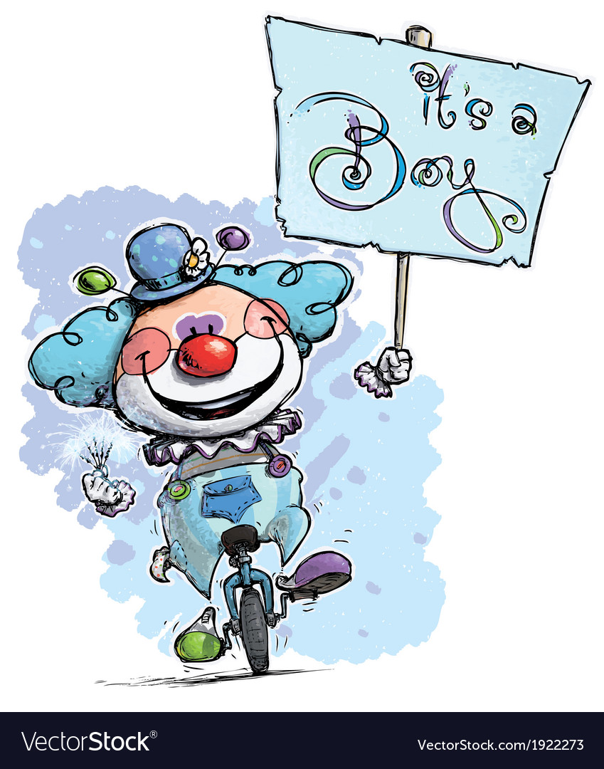 Clown on unicle hoding an its a boy plackard vector | Price: 3 Credit (USD $3)